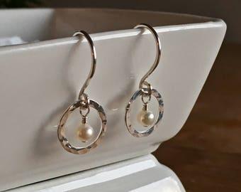 Hammered Sterling Silver Orbit & Single Fresh Water Pearl Earrings