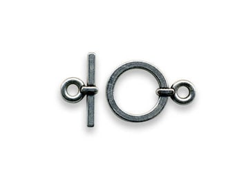 Silver toggle clasp antique 14 x 19 mm