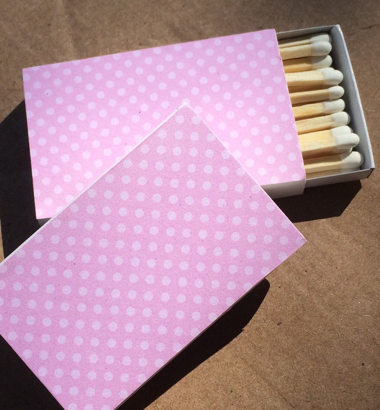 8 Matchbox Wedding Favors pink polka dot