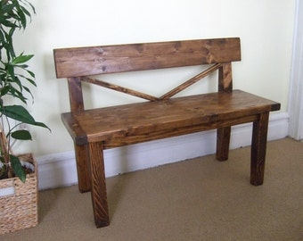 Farmhouse style bench | Rustic bench with back | Solid Wood bench | Handmade Bench
