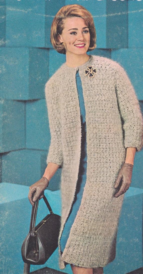 584 Ladies Coat Crochet Pattern, Long Sweater Pattern, Long Ladies ...