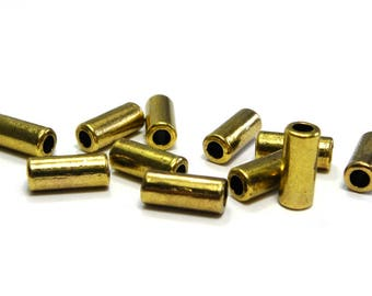 20 pc Large Hole Metal Tube Beads, Metal Cylinders 11.5 mm - Antique Gold