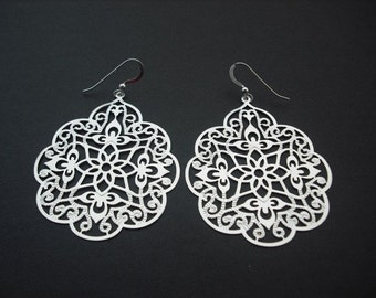 filigree leaf earrings  - sterling silver ear wires