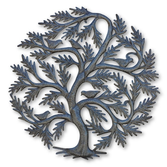 Tree of Life w/ Love Birds, Quality Handcrafted Haitian Metal Art, One-of-a-Kind 23 x 23