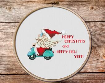 cross stitch christmas ornaments, modern Christmas cross stitch, Merry Christmas, Santa cross stitch pattern,Noel cross stitch