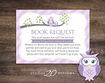 Instant Download Lilac Owl Book Request, Purple Grey Owl Book in Lieu of Card, Lavender Owl Theme Baby Shower Book Instead of Card 23H
