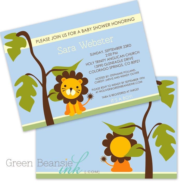 JUNGLE LION Baby Shower Printable Party Invitation Printing
