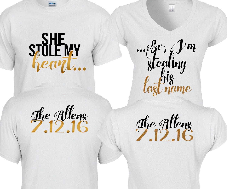 SaleCustom Couple Shirts She stole my heart... So I'm