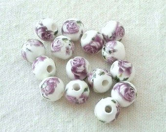 Porcelain Purple Flower 10 mm Beads in Sets of 20