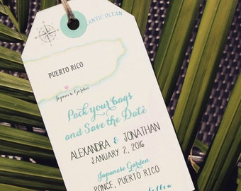 Wedding invitation Puerto Rico Save the Date Luggage Tag Magnet. Destination Wedding.