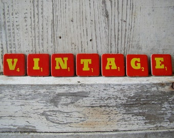 Cardboard Scrabble Letters VINTAGE Red and Yellow, Altered Art Supply, Scrapbook Supply