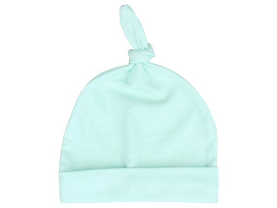 Top Knot Icy Mint Baby Beanie Hat Unisex Icy Mint Baby Newborn Beanie Toddler Slouch Beanie Baby Gift Stretch Knit Infant Top Knot Hat