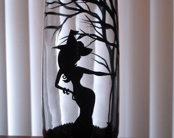 1 Hand painted witch beverage glass