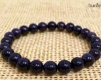 Blue SandStone Bracelet | Women Bracelet | Women Jewelry | 8mm bracelet | Beaded Stretch Bracelet | Gemstone Bracelet | 8mm beaded | Gift