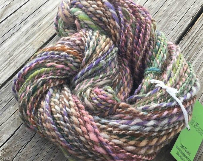 Pastel Rainbows Handspun Yarn Bulky 2 ply wool FiberTerian 95 yards rose pink tangerine spring green purple lavender blue periwinkle