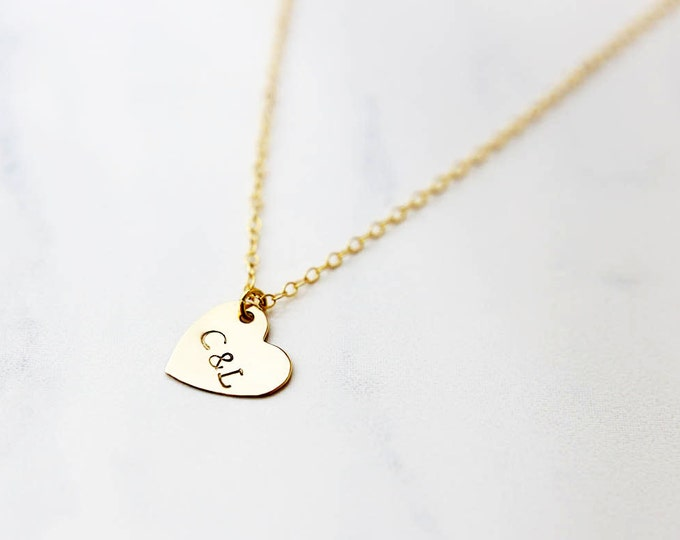 Heart initial - heart initial necklace, gold heart necklace, sterling silver heart necklace / Perfect Valentines day Gift for her  EP008