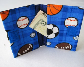 Sports wallet Boys Girl gift card wallet Fits in Back Pocket Sports gift card holder Boys Sports wallet Girls Sports wallet fabric wallet