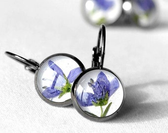 Small earrings Real flower earrings Floral earrings Blue flower earrings Black earrings for girlfriend Eco-Friendly gift earrings for teen