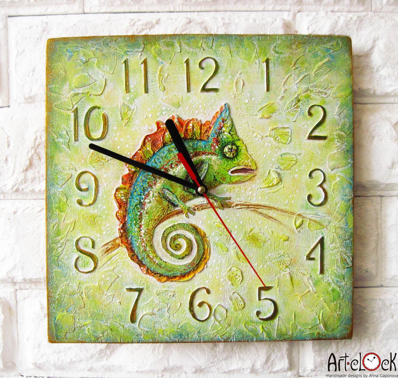 Green Chameleon Wall Clock OOAK Home Decor for Children Baby