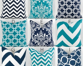Turquoise & Navy Pillow Covers  -18x18 - Mix/Match patterns cushion sham euro throw modern teal blue custom nursery decor Premier Prints