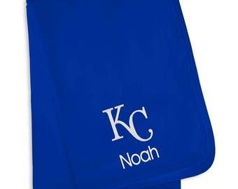 Personalized Kansas City Royals Baby Blanket Royal