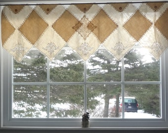 Window Topper Curtain Upcycled Repurposed Vintage Napkins Shabby Country Chic Topper Curtain - Atlantic Rock Threads