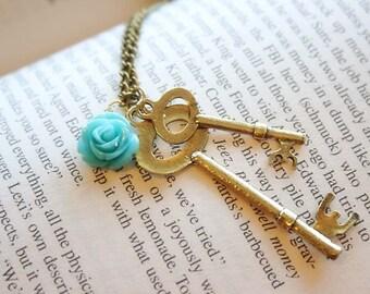 Alice in Wonderland keys necklace