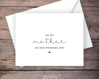 To My Mother on our Wedding Day Card, On My Wedding Day Cards, Black and White, Instant Download - Brynley