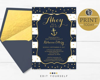 NAUTICAL Baby Shower Invitation, Instant Download, Boy Baby Shower Invitation, Nautical Baby Shower, Ahoy its a Boy, Printable Baby, 0315