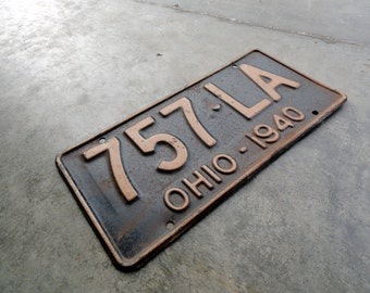 Antique License Plate - 1940s Ohio Plate 757 LA - Perfect for Display or Hot Rod