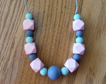 Silicone beaded Teething Necklace, Nursing Necklace, Sensory Beads, Teething Beads, BPA Free, Fidget Jewelry, Chew Necklace