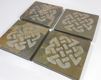 Slate Stone Coasters: Celtic Warrior Knot - Handmade Carved Coaster Set of 4 - Natural Drink Coasters, More Celtic Viking Knot Designs
