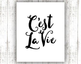 "Inspirational Print ""C'est La Vie"" Typography Quote Home and Office Decoration Motivational Poster Design Wall Art"