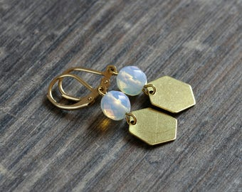 Fine geometric brass earrings with faceted moonstone and hexagon