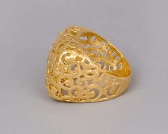 Gold Lace Ring, Chunky Gold Ring, Celtic Ring, Filigree Ring, Statement Ring, Victorian Ring, Ortiental Jewely, High Ring, Large Ring Gold