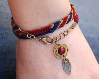 Dreamcatcher bracelet, native bracelet, navy dream catcher, native american, fiber jewelry, ethnic wrap bracelet, burgundy red tribal charm
