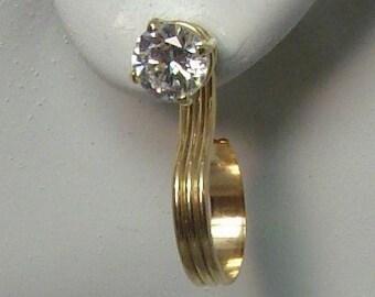 Gold Hoop Dangle Earring Jackets for Studs, 14K Gold Filled Ear Jackets for Diamond Studs, Triple Dome Hoop Dangle Jackets,Ear Jacket JHTDGF