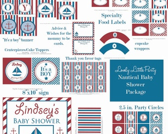 Personalized Printable Nautical Baby Shower Package - LOVELY LITTLE PARTY