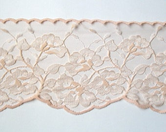 Extra Wide 80's Beautiful Dusky Peach Vintage Lace, Wedding Lace, Boho Wedding Accessory Supplies, Sewing Supplies Lace Crafts, Doll Making