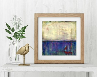 """Art Print, Abstract Print, Mixed Media print, Contemporary Art Print, Vintage Inspired Print, 8""""x8"""" or 12""""x12"""", Purple, Red, Blue """"Float"""""""