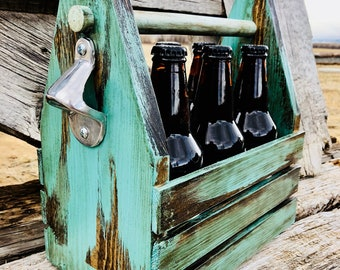 Six Pack Wooden Beer Carrier