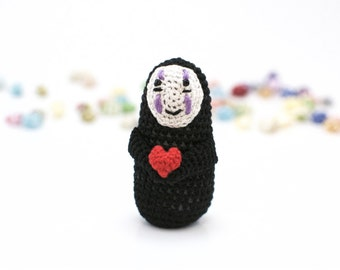 Large / No-Face / Heart / Studio Ghibli / Crochet / Amigurumi / Plushie / Miniature / Doll / READY TO SHIP