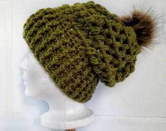 Piper Slouch Beanie.Ready to Ship// GREEN OLIVE Slouch//Green Olive Beanie//Pom Pom//Crochet Hat//Puffy Hat//Ribbed Band