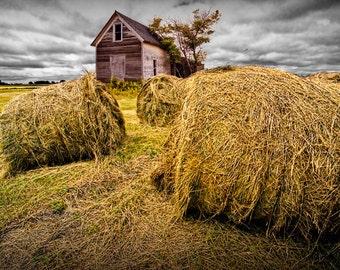 Harvest Straw Bales on a Farm Field by a Barn in North Dakota Color Wall Decor Fine Art Landscape Photography