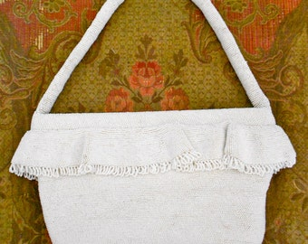 1950's White Beaded Ruffled Purse