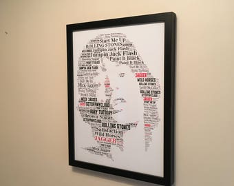 Mick Jagger - Rolling Stones Music Legend Songs Tribute - Word Art Unique Memorabilia/Keepsake/Gift/Collectible - FREEPOST UK  Fast dispatch