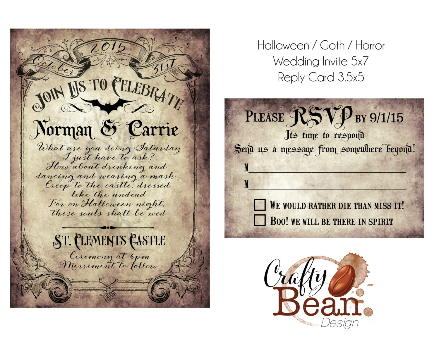 Custom Vintage Victorian/Halloween/Goth Wedding Invitation &