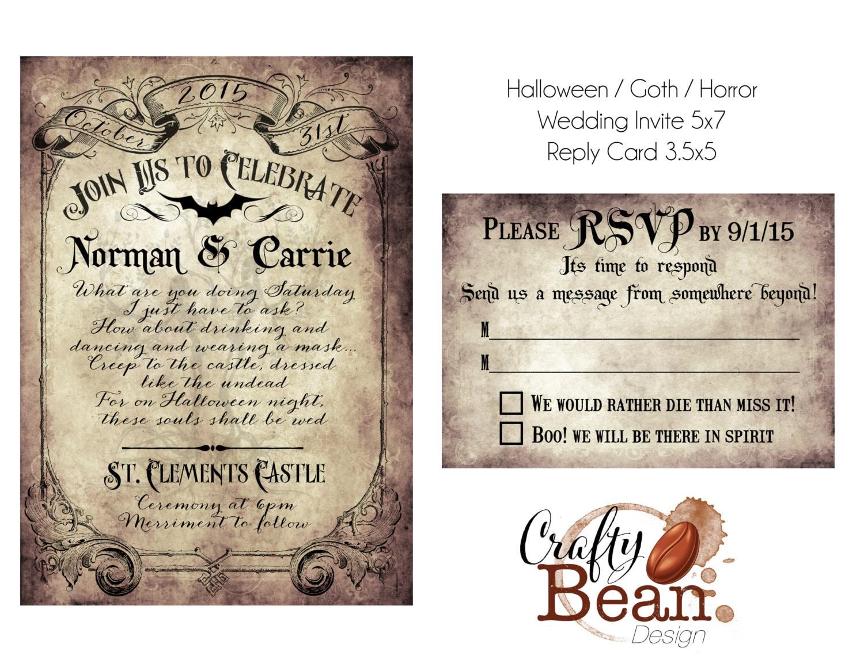 Custom Vintage Victorian/Halloween/Goth Wedding Invitation &