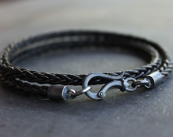 Black Leather Mens Bracelet with darkened sterling silver clasp - Braided leather bracelet, Anniversary gift for men, fathers day, boyfriend