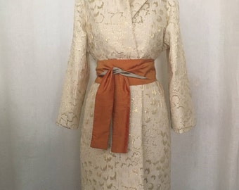 Ivory and Gold Brocade 1960s inspired Evening Coat